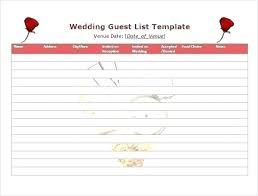 Printable Wedding Guest List Organizer Printable Wedding Guest List Template Excel Sample Google