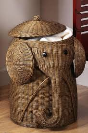 Elephant hamper operates as decoration and as a laundry basket! Best of  both worlds!