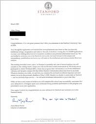 Decline To Write A Letter Of Recommendation Stanford Acceptance Letter Real And Official
