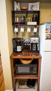 Love how this DIY microwave, coffee & pet station turned out! #diy #   Studio Apartment OrganizationApartment Ideas CollegeSmall ...