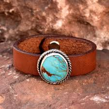 Roca Jewelry Designs Turquoise And Leather Cuff Bracelet Sterling Silver Turquoise Cuff Vintage Leather Cuff Artisan Jewelry Roca Jewelry Designs