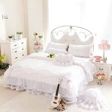white duvet cover queen luxury snow bedding sets king lace ruffle bedspread princess comforter size