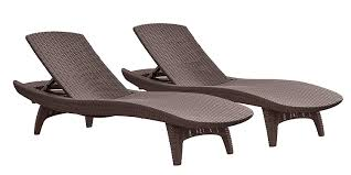 com keter pacific 2 pack all weather adjule outdoor patio chaise lounge furniture brown patio lounge chairs garden outdoor