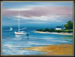 hand painted framed canvas classicism seascape oil painting 36 48