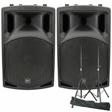 speakers stand. qtx - qx12a active pa speakers (pair, 200w) + steel speaker stand a
