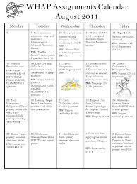 Whap Assignments Calendar August 2011