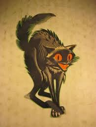 vintage halloween black cat.  Cat Vintage 1950u0027s Cardboard Halloween Decoration Scary Black Cat Original USA Intended L