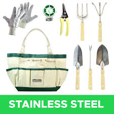 gardenhome 9 piece garden tools with canvas storage tool set tote and gardening gloves com
