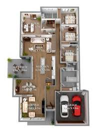 simple house plan with 5 bedrooms 3d