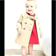 baby girl pea coat toddler trench gap 0 6 months beige tan camel dress bow old