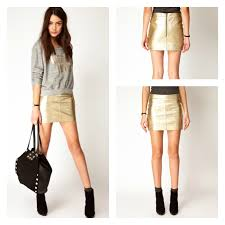 leather skirt gold asos