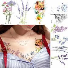 акварельные цветы цветочные временные татуировки наклейки для женщин