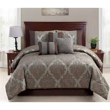 awesome idea brown damask comforter set new 8pc blue and oversized bedroom decor