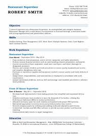 Resume Restaurant Manager Restaurant Supervisor Resume Samples Qwikresume