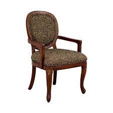 leopard upholstered wood arm chair accent chairs
