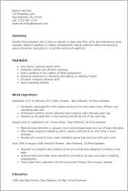 Resume Templates: Floral Assistant
