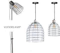 Industriële Vloerlamp Draadstaal Glas Kap Berlano Interieur Tuin