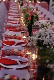 outdoor entertaining love. red + white tablecloths here: http://www.  Italian Party DecorationsItalian ...