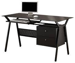 black simple metal glass 2 storage drawers pullout keyboard shelf computer desk contemporary desks