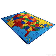 kids rug usa map area rug 5 x 7 children area rug for playroom nursery non skid gel backing 59 x 82 b00ojm8mn2