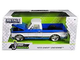 chevrolet trucks white. Fine Chevrolet 1972 Chevrolet Cheyenne Pickup Truck BlueWhite 124 Diecast Car Model By  Jada Intended Trucks White D