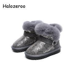 halozeroo winter children genuine leather boots baby girl fashion snow boots toddler boy brand black boots