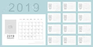 Calendar Blocking Template Simple Minimalistic Calendar Of New 2019 Year In Light Blue Colors