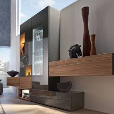 Small Picture Contemporary living room wall unit lacquered wood walnut NEO
