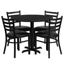 Flash Furniture 36 Inch Black Laminate 5pc Table Set With 4 Chairs