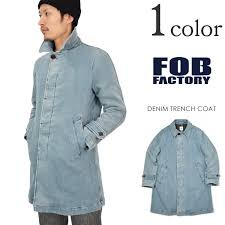 fob factory fob factory f2326 denim trench coat men s made in japan