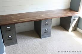 office desk tops. Custom Desk With Painted Metal File Cabinets And Butcher Block Top | Www.meadowlakeroad Office Tops G