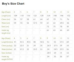 Boys Size Chart By Age Childrens Size Chart For Various Clothes By Age And Body