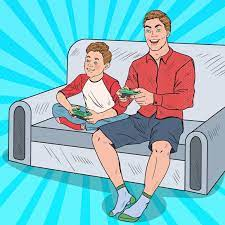 Premium Vector | Dad and son playing on a game console