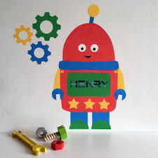robot wall sticker robot decal personalised wall stickers wall stickers for kids  on robot nursery wall art with personalised robot wall sticker with cogs chameleon wall art