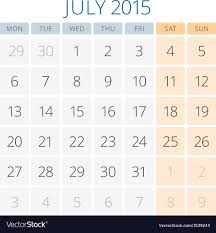 Calendar 2015 July Design Template Royalty Free Vector Image