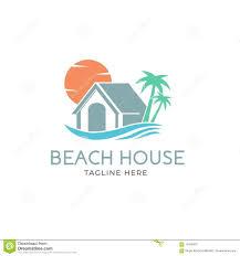 Beach House Logo Design Creative Beach House Logo Design Vector Art Logo Stock