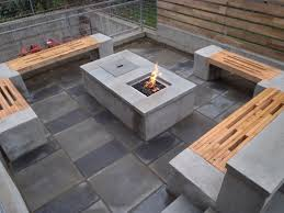 modern patio fire pit. Modern Patio Ideas On A Budget With Rectangular Fire Pit And Wooden Benches R