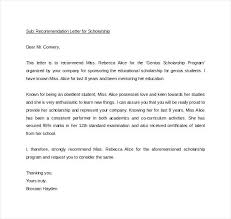 Scholarship Letter Of Recommendation Templates Personal Scholarship Recommendation Template Letter Of Word