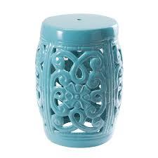 turquoise garden stool. Perfect Garden Sunjoy 18in Turquoise Ceramic Barrel Garden Stool In