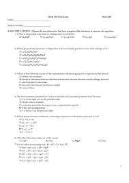 CHEM106 Final Exam KEY 08