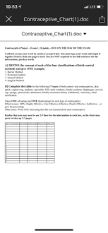 Solved 10 53 Lte X Contraceptive Chart 1 Doc H Contracep