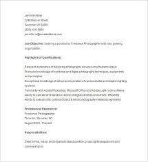 Photographer Resume Objective Freelance Photographer Resume Sample Best Resume Collection 63