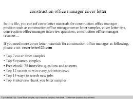 Sample Construction Cover Letters Construction Office Manager Cover Letter