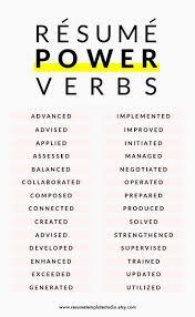 Power Verbs For Resume 478 Best Resume Cover Letter Tips Images On