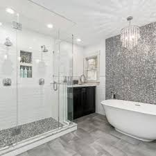 White bathroom tiles Herringbone Bathroom Transitional Master Black And White Tile Gray Tile And Mosaic Tile Gray Floor Houzz 75 Most Popular Black And White Tile Bathroom Design Ideas For 2019