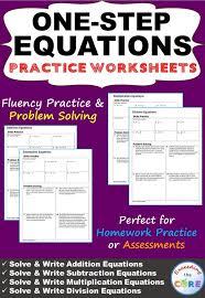 one step equations homework worksheets skills practice word problems