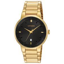 men s citizen quartz black dial gold tone stainless steel watch men s citizen quartz black dial gold tone stainless steel watch item bi5012 53e reeds jewelers