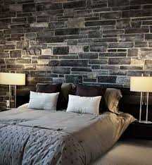 Home Design And Decor , Interior Cultured Stone Wall : Bedroom With  Cultured Stone Wall And