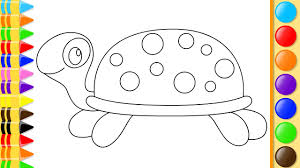 how to draw turtle with hand coloring for kids drawing book pages with colored markers