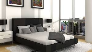 modern bedroom design ideas black and white. Bedroom:Excellent Black White Bedroom Decor With Plain Fabric Blanket And Headboard Also Modern Design Ideas